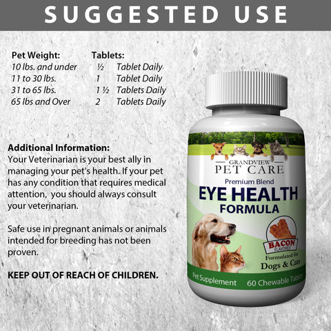 Eye Health For Dogs & Cats - Lutein, Astaxanthin, Lycopene, Zeaxanthin, Bilberry Antioxidants with Vitamin C and Vitamin E - Maximize Your Dog or Cat's Eye Health - Delicious Bacon Flavor