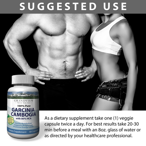 Image of Garcinia Cambogia Extract (Pure) With 80% HCA, Natural Appetite Suppressant And Effective Fat Burner Weight Loss Supplement For Women & Men - 750mg, 60 Capsules