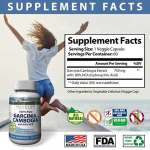 Garcinia Cambogia Extract (Pure) With 80% HCA, Natural Appetite Suppressant And Effective Fat Burner Weight Loss Supplement For Women & Men - 750mg, 60 Capsules