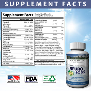 NeuroPlus Brain Booster Focus That Supports Mental Alertness, Memory, Focus, and Concentration - Made in Our Lab in Utah, 60 capsules