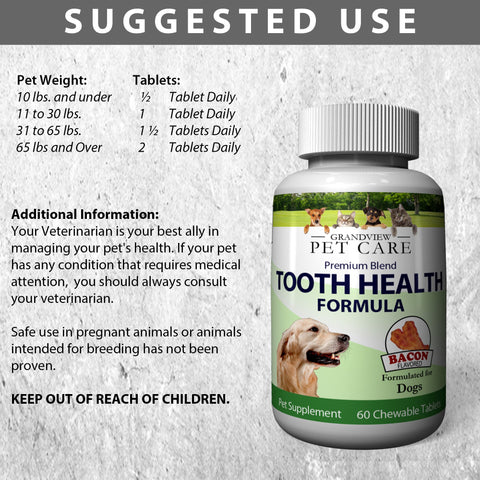 Image of Tooth Health for Dogs - Maintains Healthy Teeth Helps strengthen Enamel Provides Calcium for Strong Teeth Bacon Flavored 60 Chewable Tablets