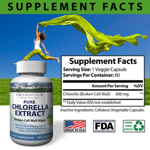 Chlorella Pure. 600mg, Boost Immune System Natural Detoxifying Agent Fight Viruses and Bacteria Promotes Gastrointestinal Health Helps minimize Fatigue 30 servings