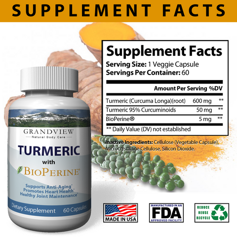 Image of Turmeric Curcumin with BioPerine® Powerful Anti-Inflammatory Promotes Digestion Regulates Metabolism Maintain Healthy Blood Pressure
