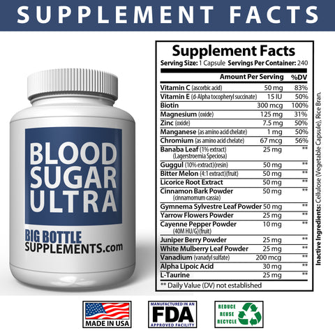 Image of BigBottleSupplements.com Blood Sugar Ultra - OVER 100 Day Supply, Blood Sugar Support Supplement - Helps Support Healthy Blood Sugar Control with Alpha Lipoic Acid & Cinnamon - 220 Pills