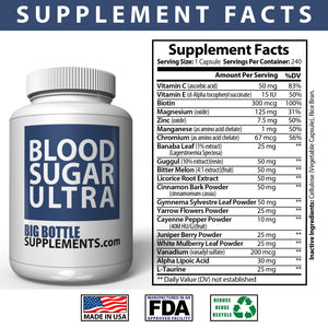 BigBottleSupplements.com Blood Sugar Ultra - OVER 100 Day Supply, Blood Sugar Support Supplement - Helps Support Healthy Blood Sugar Control with Alpha Lipoic Acid & Cinnamon - 220 Pills