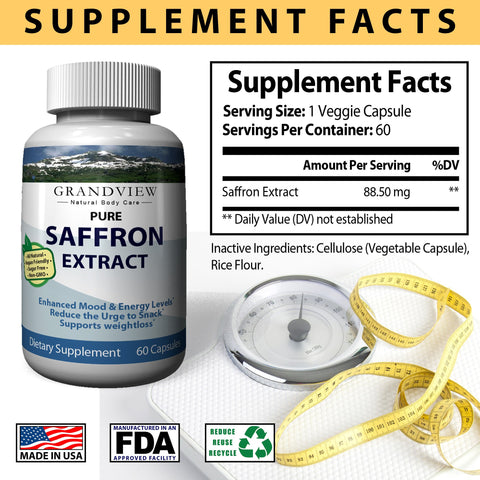 Image of Saffron Pure Supplement Appetite Suppressant Capsules - Healthy Weight Loss - Hunger Suppression - Metabolism Booster Anti-Anxiety & Eye Support for Women & Men - 60 Capsules