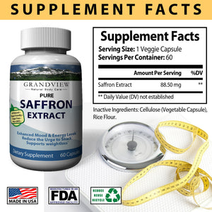 Saffron Pure Supplement Appetite Suppressant Capsules - Healthy Weight Loss - Hunger Suppression - Metabolism Booster Anti-Anxiety & Eye Support for Women & Men - 60 Capsules