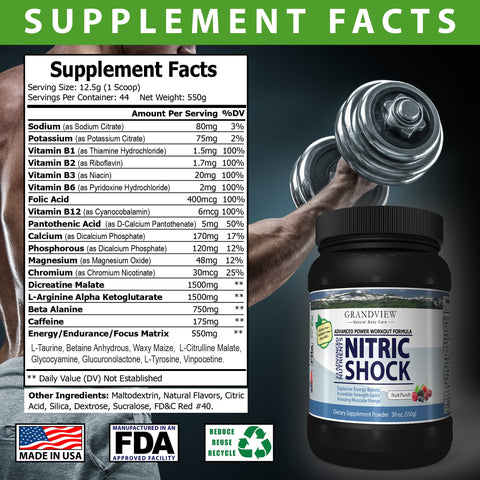 Image of Nitric Shock Pre-Workout (Fruit Punch) Boosts Energy Heightens Physical Response Increases Endurance Promotes Muscle Mass,  Will Not Cause Restlessness If Taken Late In the Day - 550 Gms