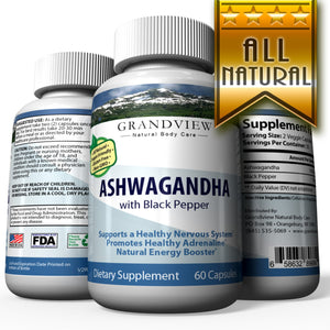 Ashwagandha w/ Black Pepper. Maximum Strength - Stress Relief and Anti Anxiety, Thyroid Adrenal Support, Mood Pure Root Powder Extract Supplements - Extra Strength