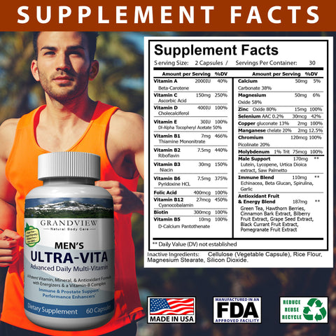 Image of Ultra Vitamin for Men – 15 Vitamins and Minerals Immune System Support Cardiovascular and Prostate Health Protects Against Muscular Loss 60 Caps