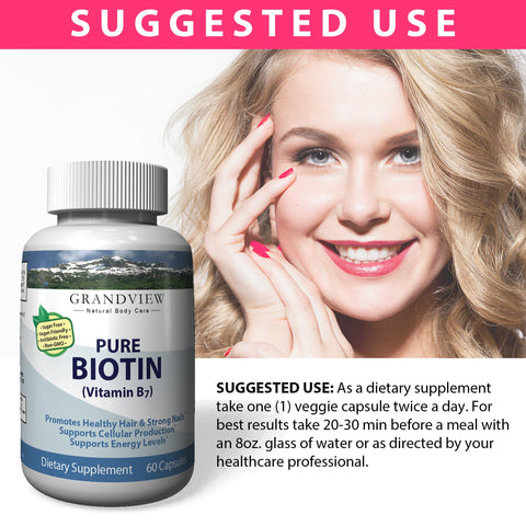 Image of Biotin Pure. 10000 mcg, Promotes Healthy Hair Growth Boosts Metabolism Supports Strong Nails Maintains Healthy, Youthful Looking Skin Helps Breakdown Carbohydrates 60 servings