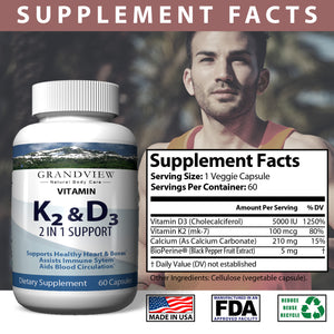 Vitamin K2 (MK7) with D3 5000 IU Supplement with BioPerine (Black Pepper) for Immune System Support, Strong Bones and Heart Health (60 Tiny Easy to Swallow Vegetable Capsules)