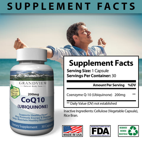 Image of CoQ10 - Cell Protection & Cardiovascular Health Increases Energy Protects Cell Membranes Helps Prevent Migraines Improved Circulatory Function Aids Digestion - 30 Capsules
