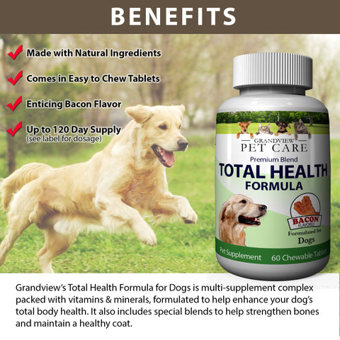 Total Health for Dogs - Maintains Overall Health Helps strengthen Bones Supports a Healthy Coat Bacon Flavored 60 Chewable Tablets