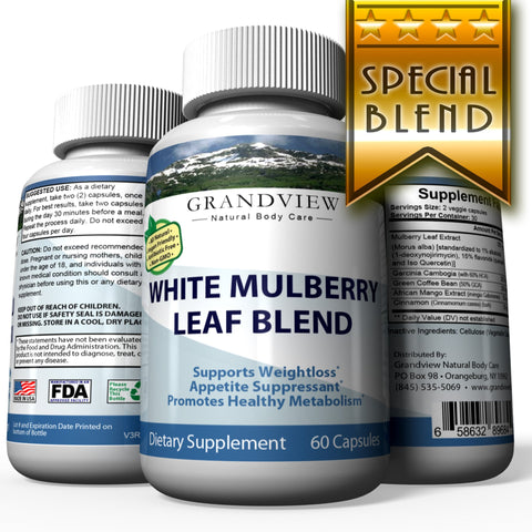 Image of White Mulberry Leaf Blend - Blood Sugar Supplement Natural Blood Glucose Control Appetite Suppressant Promotes Weight Loss Maintain Healthier A1C  White Mulberry Leaf Blend Weightloss 60 Caps