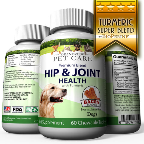 Image of Hip & Joint Formula with Turmeric for Dogs Maintains Healthy Cartilage Helps Alleviate Sore Joints Anti-inflammatory Bacon Flavored - 60 Chewable Tablets