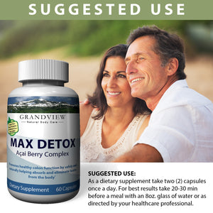 Max Detox Improve Immune Response Helps Protect Cells Aids Maintaining a Health Weight, Youthful Skin, Helps Cleans the Body of Free Radicals - 60 Caps