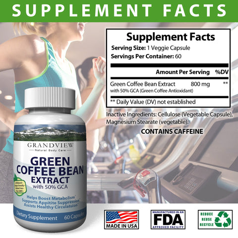 Green Coffee Bean w/GCA 800mg  Helps Suppress Appetite Boosts Metabolism Promotes Weight Loss Helps Control Blood Sugar Levels Heart Healthy– 60 Capsules