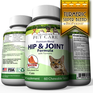 Hip & Joint Formula with Turmeric for Cats Maintains Healthy Cartilage Helps Alleviate Sore Joints Anti-inflammatory Bacon Flavored - 60 Chewable Tablets