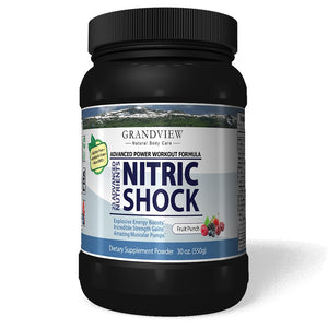Nitric Shock Pre-Workout (Fruit Punch) Boosts Energy Heightens Physical Response Increases Endurance Promotes Muscle Mass,  Will Not Cause Restlessness If Taken Late In the Day - 550 Gms