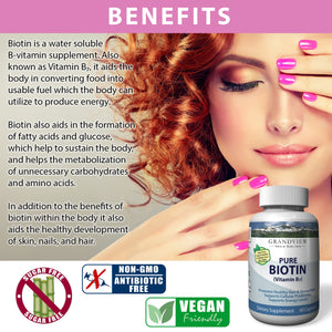 Biotin Pure. 10000 mcg, Promotes Healthy Hair Growth Boosts Metabolism Supports Strong Nails Maintains Healthy, Youthful Looking Skin Helps Breakdown Carbohydrates 60 servings