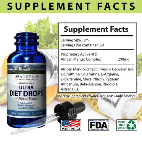 Image of Ultra Diet Drops w/ African Mango - Suppresses Appetite Weight Loss Increases Leptin Levels Supports Heart Health Ultra Diet Drops w/ African Mango Weightloss1 fl. oz. (30 ml)