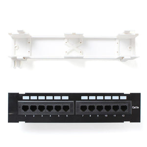 12 port RJ45 patch panel with separate wall mounting bracket