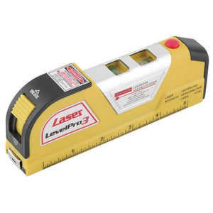 tape measure with ruler, laser level and bubble aligner
