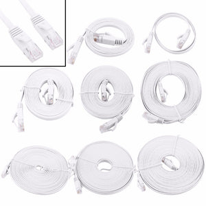 White Ethernet network cables 1 metre to 15 metres