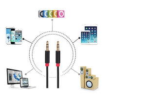 3.5 mm stereo aux cable for smartphones, cars, tablet and hifi systems