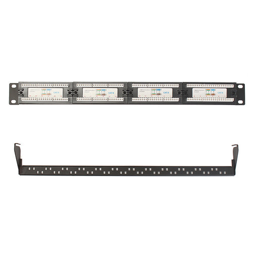 24 RJ45 patch panel with cable support