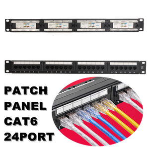 RJ45 patch panel front, back and cable populated view