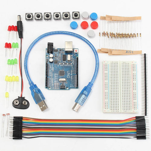 Starter kit for Arduino Uno with breadboard and components