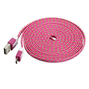 3 metre USB to micro USB cable braided pink