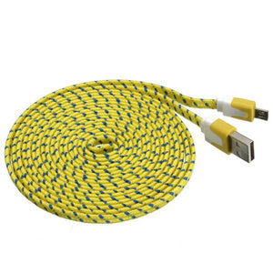 3 metre USB to micro USB cable braided yellow
