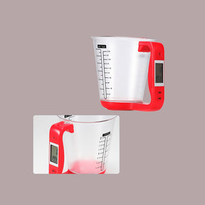 Digital kitchen Electronic Measuring Cup Jug Scales with LCD Display Temp Measurement 16x12.5x13.5cm