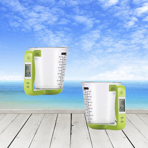 measuring jug with temperature and weight LDC display green