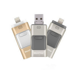 USB flash drive with Apple Lightning, micro USB and USB connectors