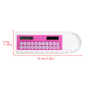 pink ruler, calculator and protractor in one