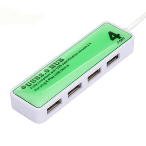 4 port USB hub green and white