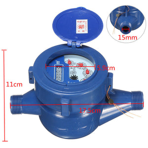15mm Water Meter Plastic Single Flow Water Measuring Meter 5 digit cubic metre display