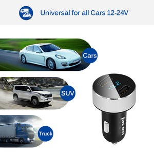 Dual USB car charger 3.1 amps total with voltage meter uses
