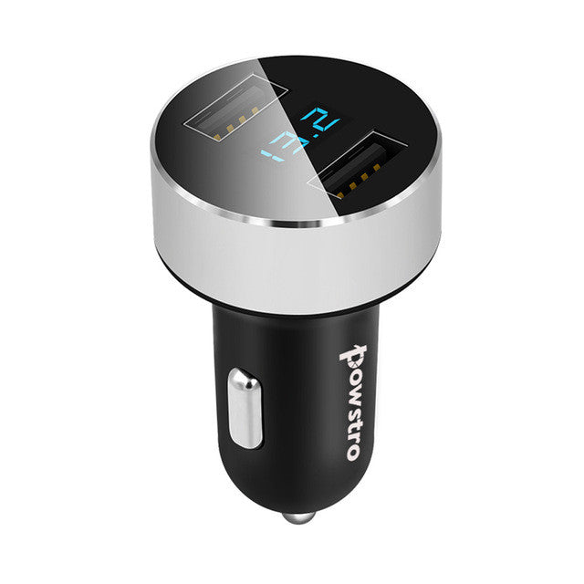 Dual USB car charger 3.1 amps total with voltage meter silver