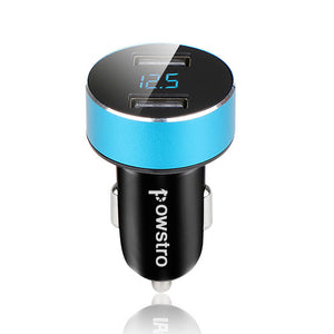 Dual USB car charger 3.1 amps total with voltage meter blue