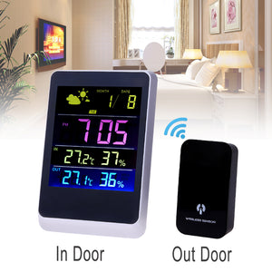 Wireless Weather Station Colourful LED Temperature Clock Thermometer Hygrometer Meter