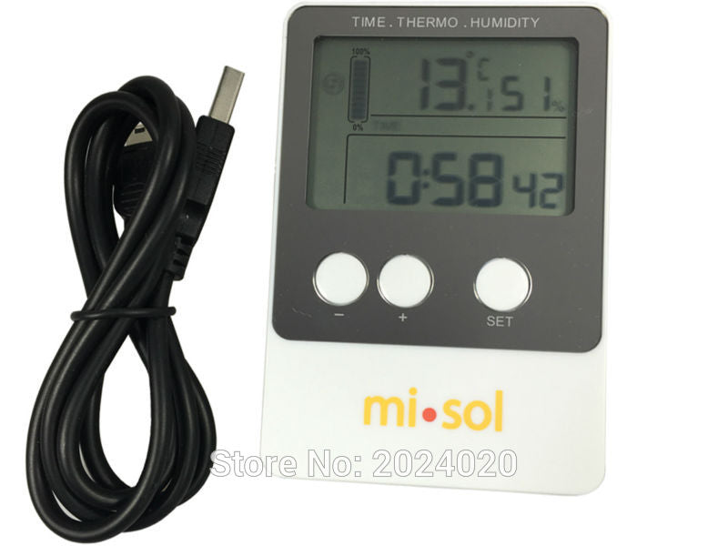 Temperature and humidity meter and logger. USB cable for data download.