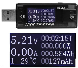 USB inline voltage, current and power meter