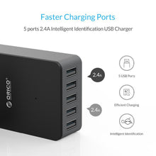 5 USB port charger up to 2.4 amps per socket