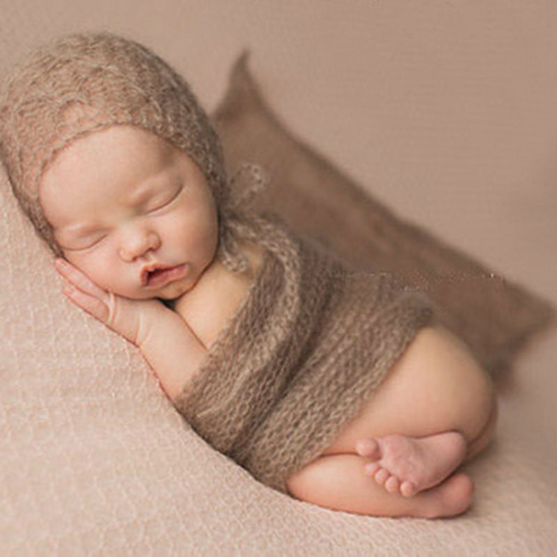 Newborn photography accessories 40x60cm mohair wrap soft knitted crochet baby photo shoot