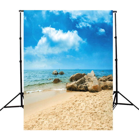 3x5ft Photography Background For Studio Photo Props Vinyl Fabric Cloth Sky Beach Sand Stones  90x150cm